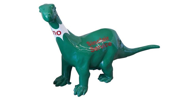 "Lot# 6384 - Interesting large three dimensional cast metal Sinclair Service Station ""Dino"" the dinosaur statue."