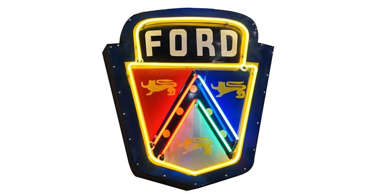 Lot# 6398 - Extremely rare 1953 Ford Golden Jubilee single-sided neon porcelain dealership crest sign.