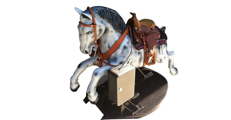 Lot# 6369- Exquisite 1961 twenty-five cent coin operated children's horse ride lovingly restored cosmetically and mechanically with no expenses spared by McLaren Classic restorations.