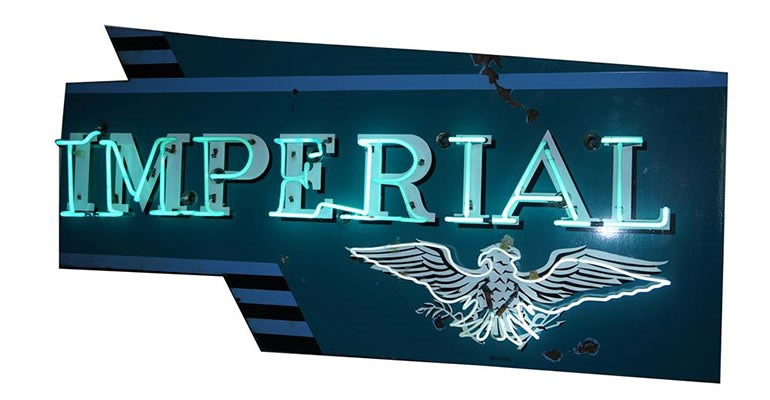 Lot# 6396 - Ultra rare 1950's Chrysler Imperial Automobiles single-sided neon porcelain dealership sign.